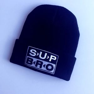NWOT UNIF SUP BRO Black Knit Beanie Hat